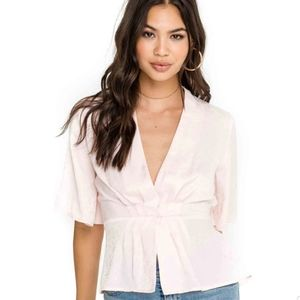 ASTR the Label | Pleated Front V Neck Wrap Blouse